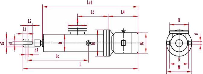 整体直式电液推杆外形图