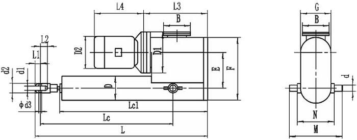 平行式电液推杆外形图
