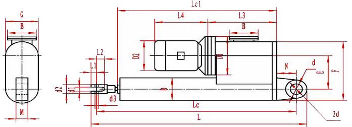 平行悬挂式电液推杆外形图