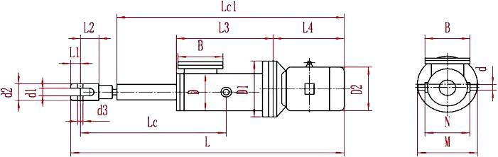 整体直式微型电液推杆外形图