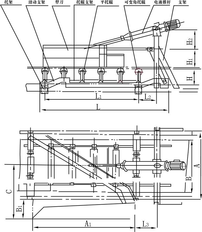 DYTNZ(Y)电液动单侧犁式卸料器外形图